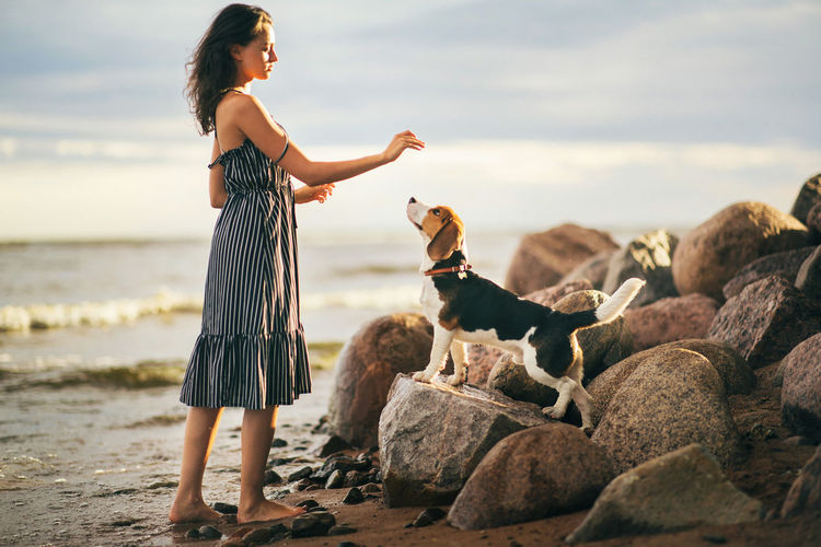 Side view full length of young woman standing by beagle at beach