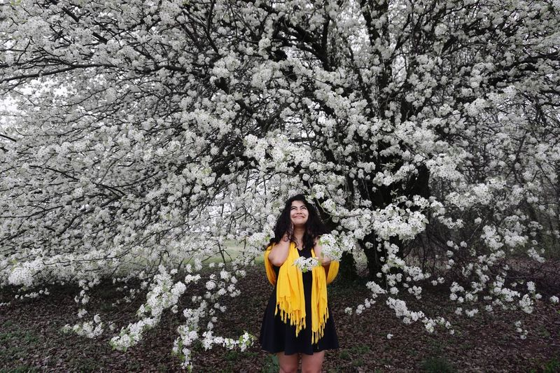 Flower Tree One Person Nature Blossom Yellow Beauty In Nature Looking At Camera Beautiful Woman Outdoors Beauty Springtime Long Hair Freshness Young Adult Adult Young Women Portrait Smiling Day