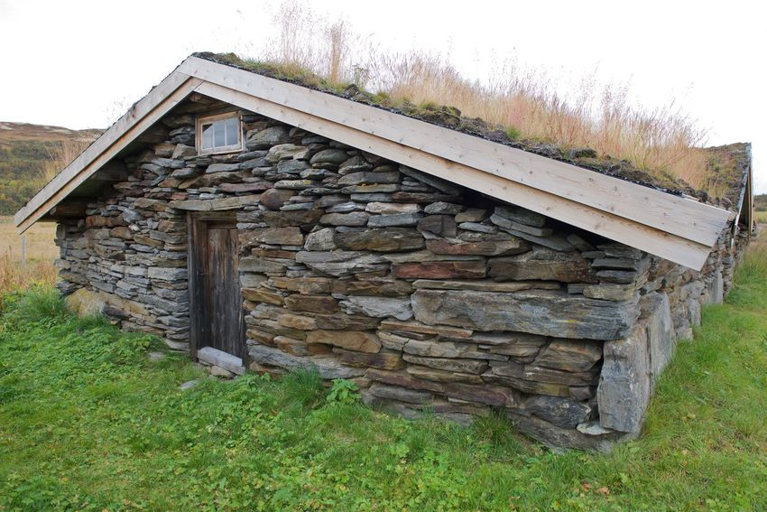 In Norway Old Stone Houses Architecture Building Exterior Built Structure Countryside Day Field Grass Grass Roof Nature No People Old Stone House Outdoors Sky Stone Material