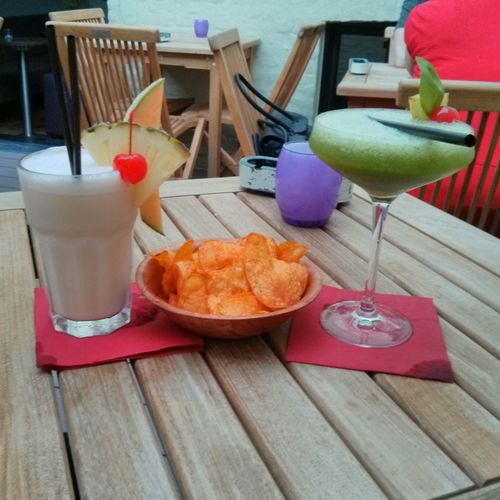 Vanilla cocktail and Italian apple. Pre Minions drinks!