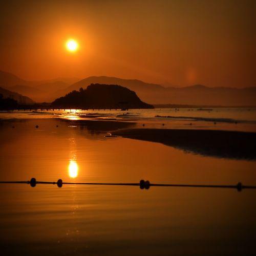 Sunset Reflection Water Sun Tranquil Scene