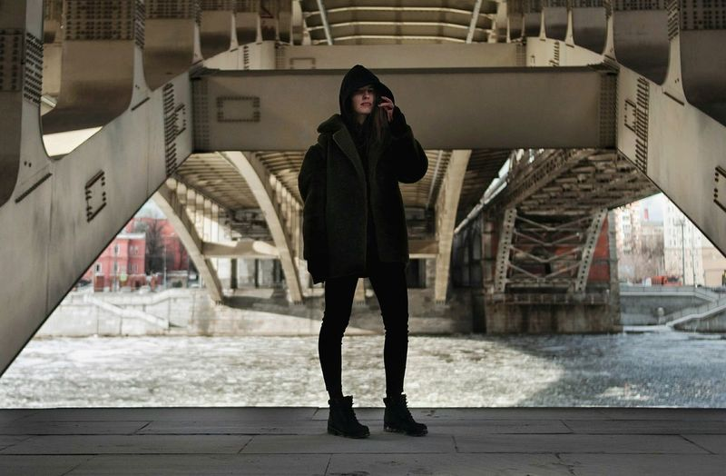 City Downtown District Outdoors Day Urban Style Moscow City Moscow Life Russia City Life Real People Urban Fashion Urbanphotography Urban Lifestyle Cold Temperature Warm Clothing Winter Beautiful Woman Beautiful People One Person Under The Bridge Bridge City