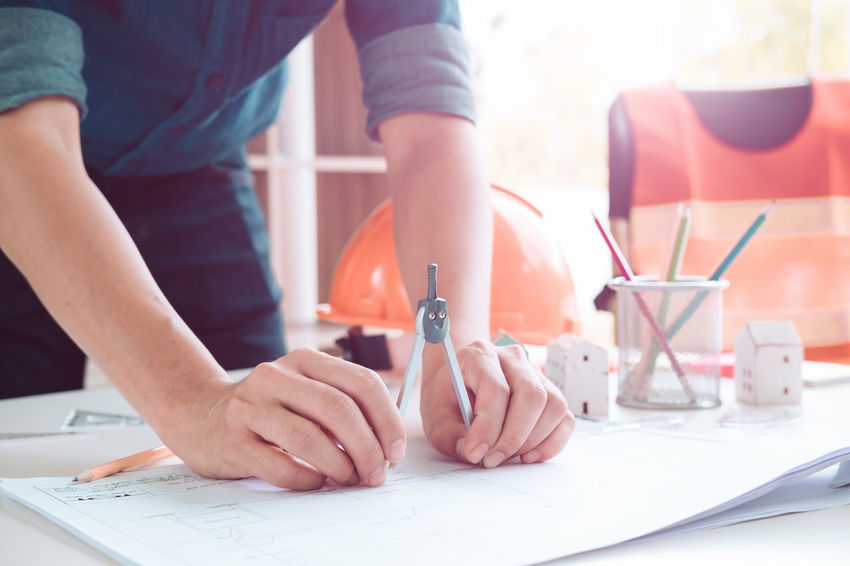 ARCHITECT Architecture Construction Industrial Industry Machinery Mechanical Plan Production Work Blueprint Building Contractor Design Drawing Engineer Engneering Equipment Helmet Manufacturing People precision Project Technology Tool