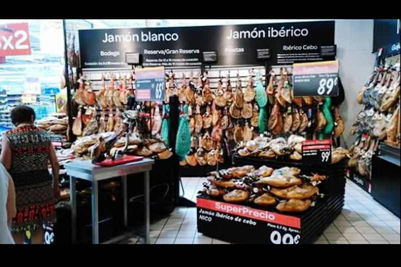 España🇪🇸 Castillayleon Food Indoors  Carrefour Valladolid Spain ✈️🇪🇸 Jamon Serrano Jamon