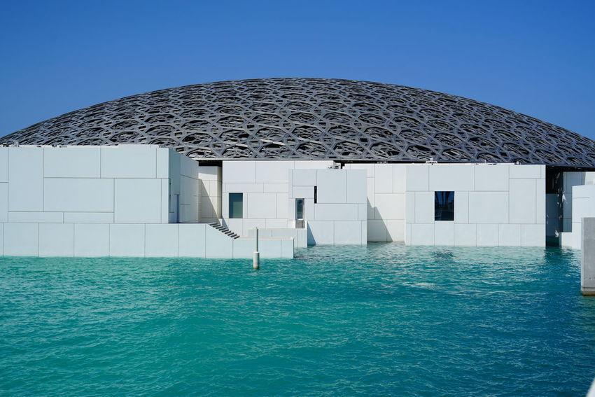 Modern Architecture White Building Arabian Sea Dome Louvre Abu Dhabi Museum Sea Turquoise