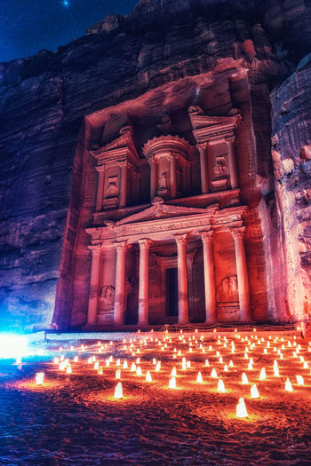 The treasury of Petra during the event Petra by Night. Candles Desert Indiana Jones Jordan Nightphotography Petra Travel Adventure Architecture Built Structure Candle Illuminated Landscape Night No People Outdoors Religion Sky Spirituality Travel Destinations Treasury Unesco Wadi