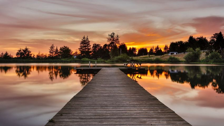 EyeEm Selects Lake Sunset Sunset_collection Tree Sky Cloud - Sky Water Reflection Pier Nature Beauty In Nature Scenics Tranquil Scene Jetty Outdoors No People Tranquility Day Robert DuVernet Photography