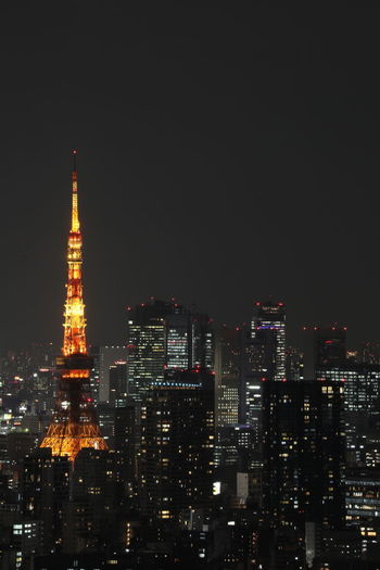 Architecture Building Exterior Built Structure Night Illuminated City Building Cityscape Tall - High Tower Office Building Exterior Sky Skyscraper No People Urban Skyline Travel Destinations Landscape Modern Outdoors Financial District  Spire  Tokyo Tokyo Tower Tokyo Street Photography