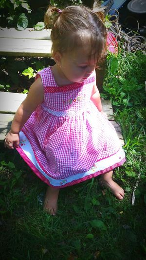 I love my beautiful little girl so much she is growing way to fast. She is why I take pictures. Don't want to forget a minute. Forever My Baby Dramatic Angles Childhood Innocence Outdoors Casual Clothing Person Baby Clothing Innocence Pink Color Toddler  Dress Dress Bearfeet Grass