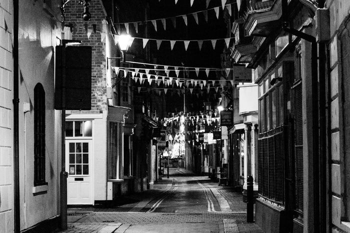 Road Weymouth Dorset Architecture Black And White Building Exterior Built Structure Bunting Illuminated Night No People Street The Way Forward