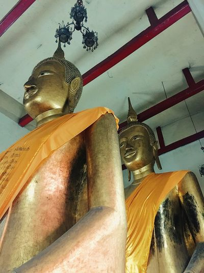 Twin Statue of Buddha Statue Sculpture Religion Spirituality Low Angle View Gold Colored No People Place Of Worship Indoors  Day Thailand