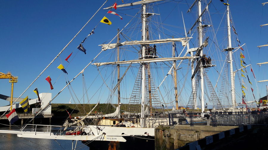 Clear Sky Blue Sky Multi Colored Harbor Outdoors No People Harbor Ship Tallships Tallship Tall Ship Cable Mast Celebration Event at Blyth Beach, Blyth North East Uk Transportation