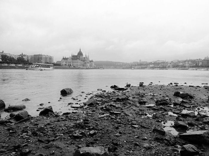 A dry walk on Danube river... Water River Outdoors No People Cityscape Parliament Building Parlament Of Hungary Catastrophic Walking On Water