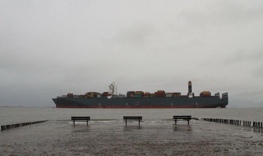 River Schelde Zeeuws Vlaanderen Zeeland  Water Transportation Nautical Vessel Sky Container Ship Outdoors Nature No People Industry Day