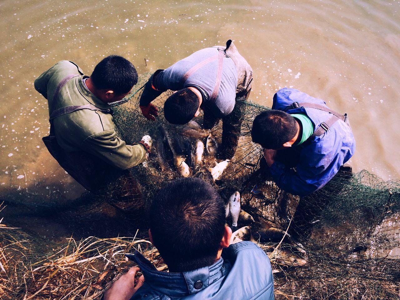 Four men with fishing net