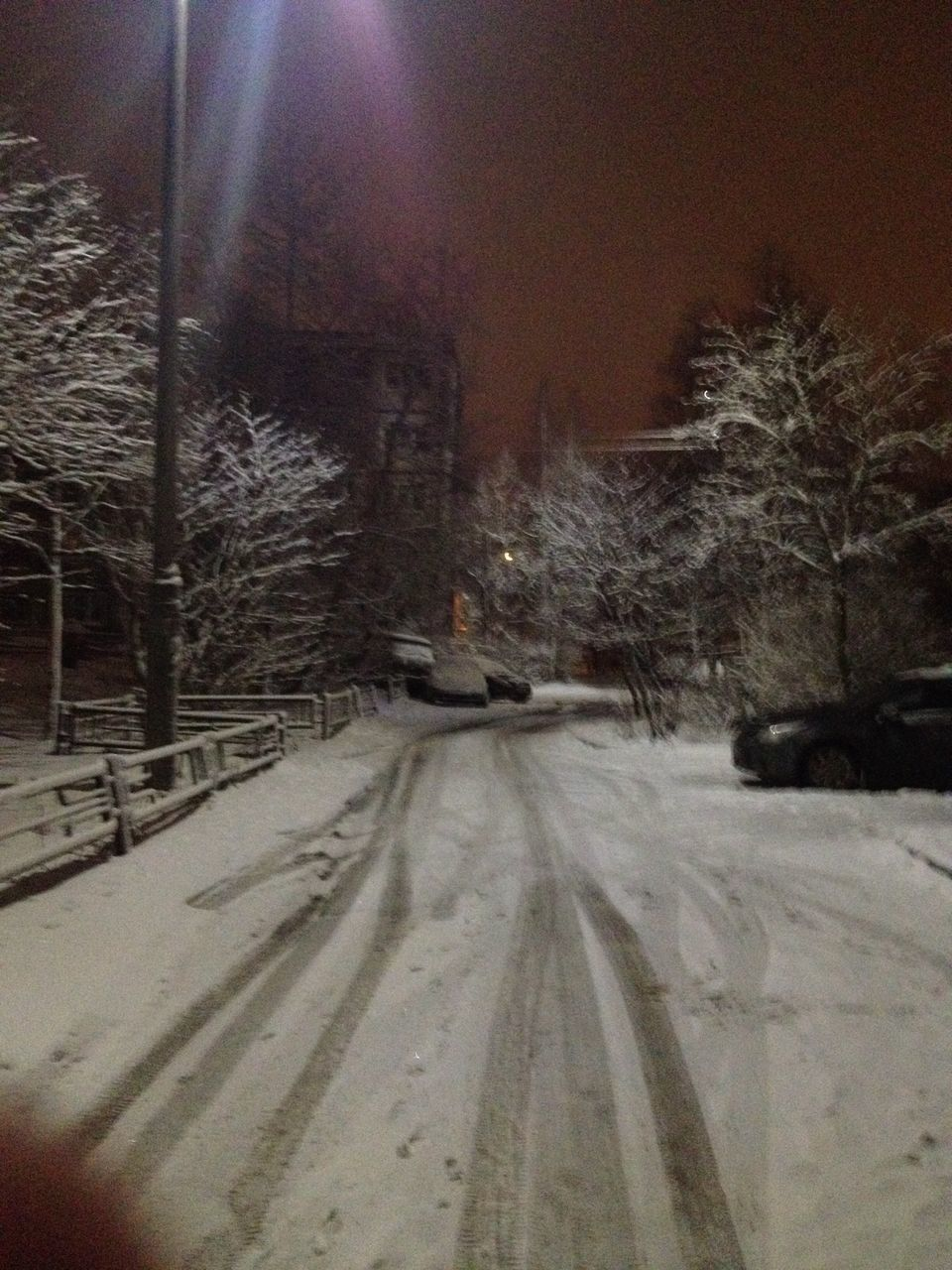 snow, cold temperature, winter, transportation, tree, plant, road, street, night, nature, architecture, no people, covering, city, car, building exterior, tire track, mode of transportation, motor vehicle, outdoors, snowing