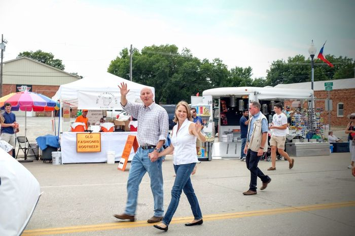 55th Annual National Czech Festival August 5, 2016 Wilber, Nebraska CampaignSeason Casual Clothing Celebrity Sighting Color Photography Czech Days Czech Festival Event First Lady Full Length Governer Government Lifestyles Main Street USA Midday Sunlight MidWest Nebraska Parade Politician Politics Republican Secret Service Smal Town USA Street Fashion Waving Hello Wilber, Nebraska