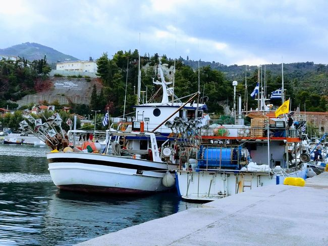 Nautical Vessel Harbor Nature No People Mountain Cloud - Sky Outdoors Sky Day Water Moored