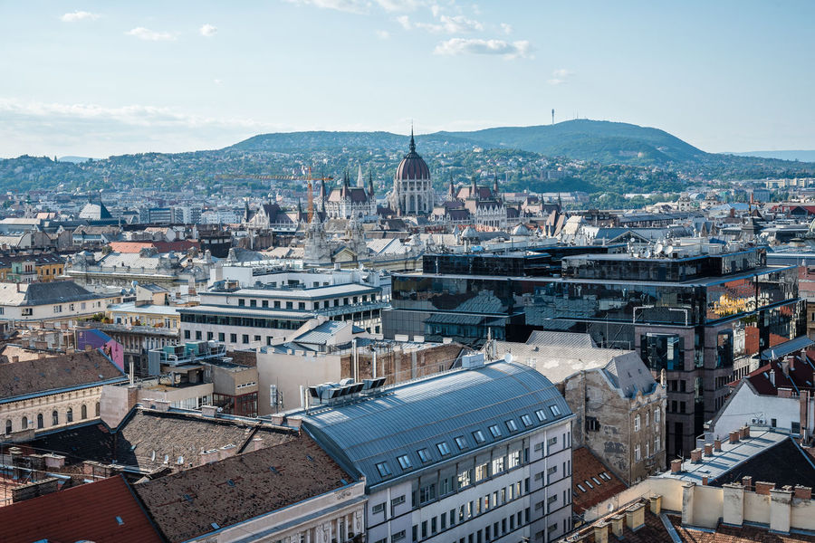 High angle view of Budapest skyline Aerial Shot Budapest City Cityscape Hungary Roof Aerial View Architecture Building Exterior Built Structure City Cityscape Day Dome High Angel View High Angle View Hungarian Outdoors Politics And Government Sky Travel Destinations