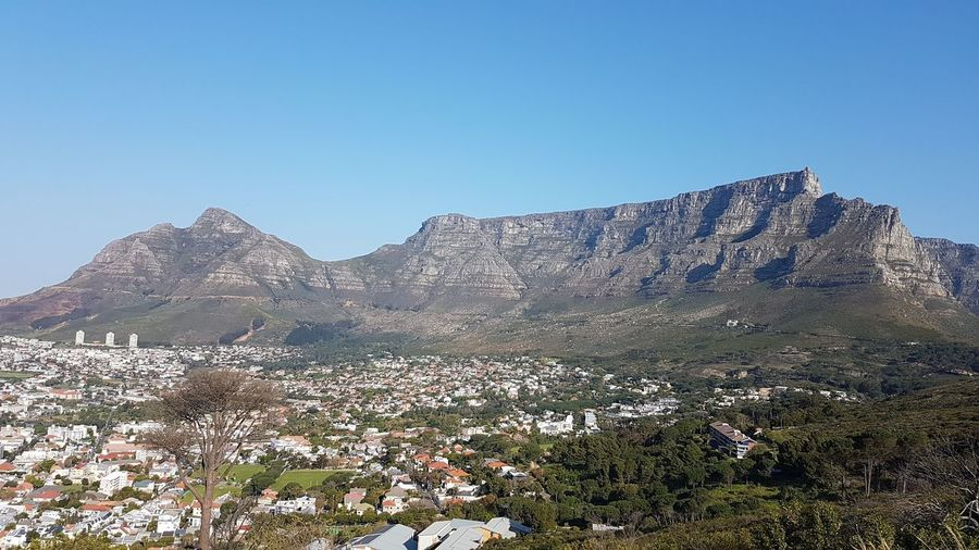 Scenic view of mountains against clear sky at table mountain national park