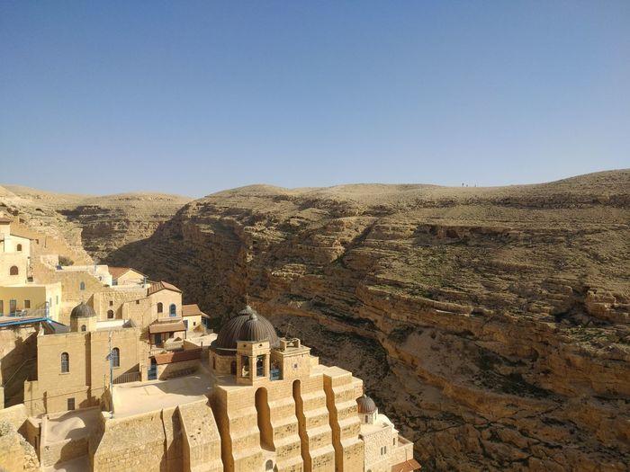 Mar Saba Monastery Ancient Civilization Desert Arid Climate Old Ruin Ancient Tree History Pyramid Sky Architecture