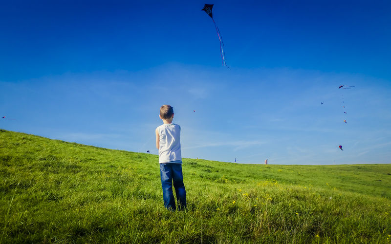 Rear view of boy flying kite while standing on grassy field against sky