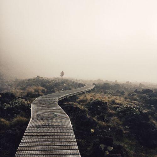 Boardwalk on field against sky during foggy weather