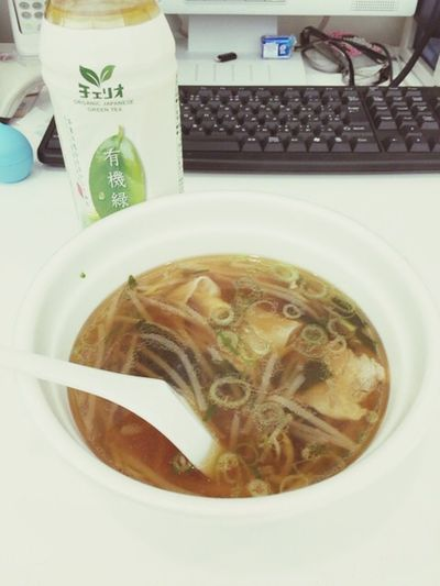 4/11 Lunch 店抜けれないから 出前 ! ワンタンスープ Soup Kyoto そんなに美味しくない