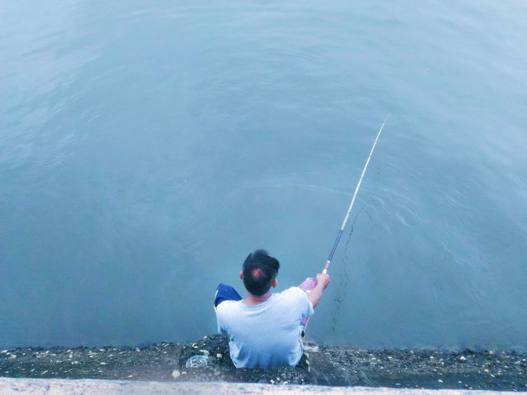 One Person One Man Only People Adult Only Men Water Balance Men Fishing Fisherman Fishing Rod Alone High Angle View Ocean Beach Activity Motion Day Outdoors Sea Nature Philippines Quezon Province Province Mauban Quezon