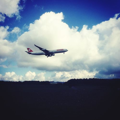 my Passion ❤️ Swiss Swissgirl Switzerland Flyswiss Zürich Sky Cloud Flying Cloud - Sky Airplane Transportation Landscape Journey Mid-air Outdoors Day Low Angle View Nature No People Airplane Wing