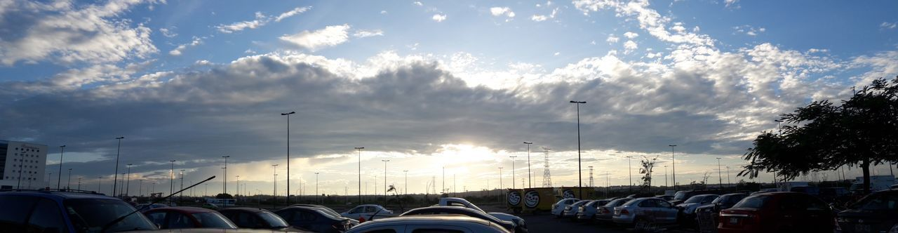 Sunset Panoramic Dramatic Sky Wind Autumn Non Filter Clouds And Sky Parking Area Cars Clouds Cloudscape No People Taking Photos