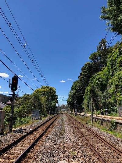 Sky Tree Rail Transportation Track Railroad Track Plant Nature Transportation Cable Clear Sky The Way Forward No People Blue
