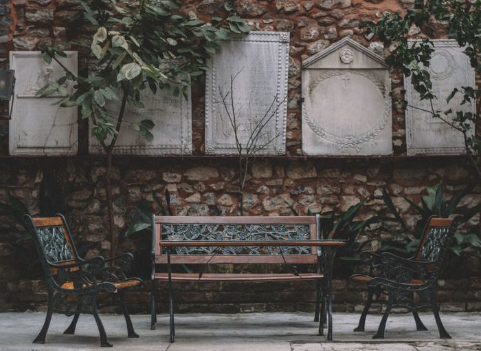 Abandoned Absence Bench Chair Church Culture Design Empty Istanbul Metal No People Orthodox Pattern Religion Shadow Sitting VSCO Wall Wood Wood - Material Wooden