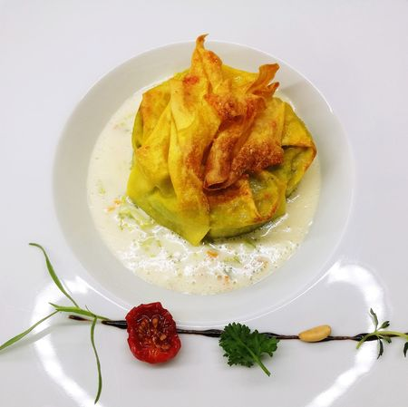 Paint The Town Yellow Pasta Ripiena Stuffed Pasta Homemade Pasta Fresh Pasta Restaurant Yellow Close-up Healthy Lifestyle Indoors  No People Freshness The Week On EyeEm Food And Drink Food Healthy Eating Fagottino Lasagna Tomato Cheese Cream Creamy Aromaticherbs Gourmet Gourmet Cooking