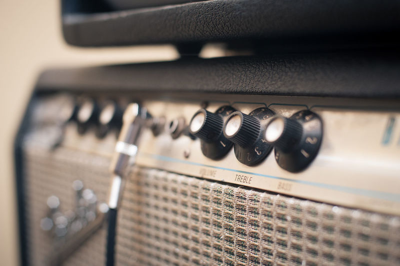 Close-up of knobs on amplifier