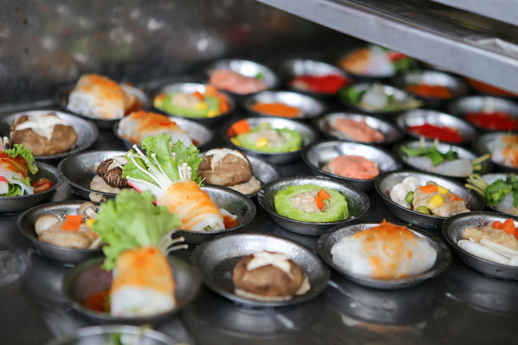 Close-up of sushi served in tray