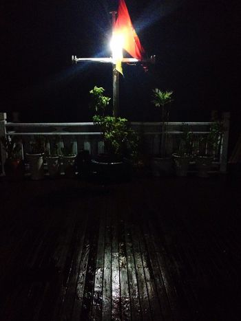 Black Boat Cross Light Night Redflag Shadow Vietnam Water Wood