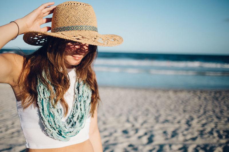 Beach Babe Beach Beach Babe Beach Portrait Golden Hour Hat Lookslikefilm Portrait Scartissue  Summer Summer Hat Summer Scarf