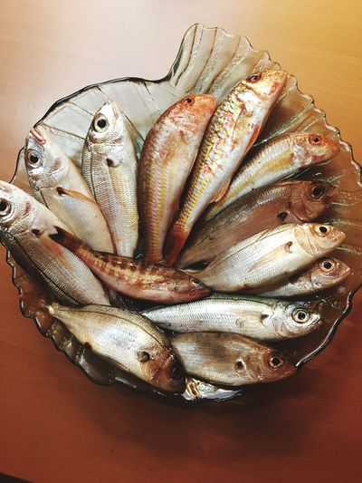 Eat Fresh Seafood Freshness Animal Fish Food And Drink Food Vertebrate Table Animal Themes Silver Colored Directly Above Group Of Objects High Angle View Raw Food Still Life No People Healthy Eating Wellbeing Close-up Indoors