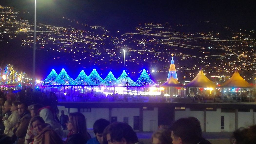 #funchal #madeira Madeiraisland IloveMadeira Portugal Vista View Night Illuminated Celebration Christmas Crowd Large Group Of People Nightlife