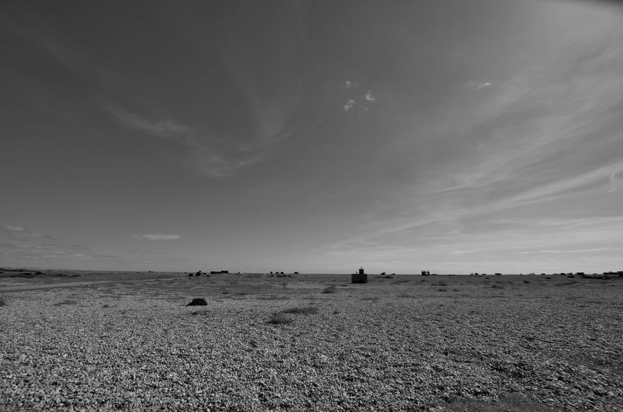 Beachlife Black And White Desert Desolate Desolation Dungeness Empty Places Gravel High Noon Horizon Over Land No People Ruin Wide Angle Wild West