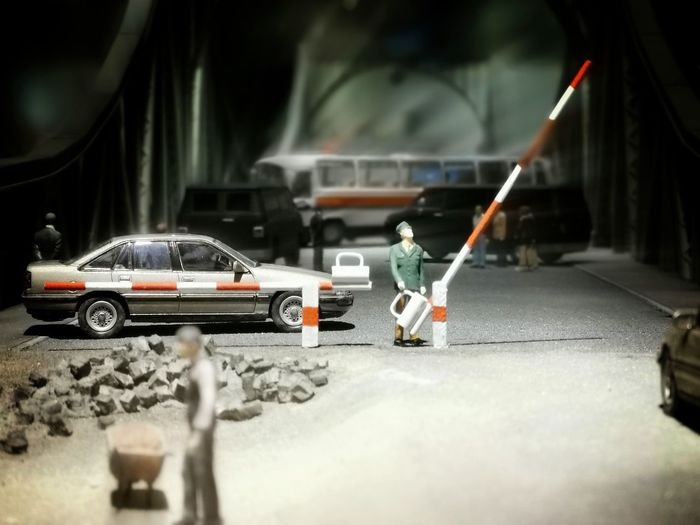Close-up of toy car on road