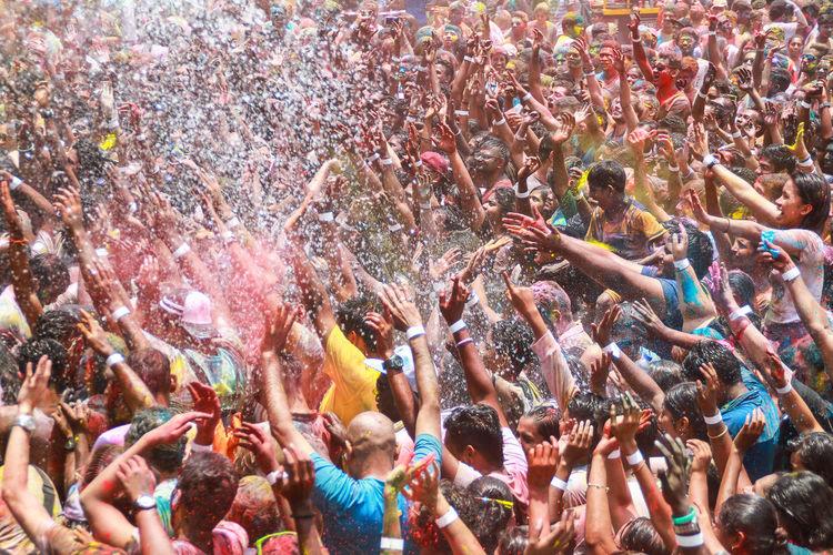 Crowd enjoying during holi