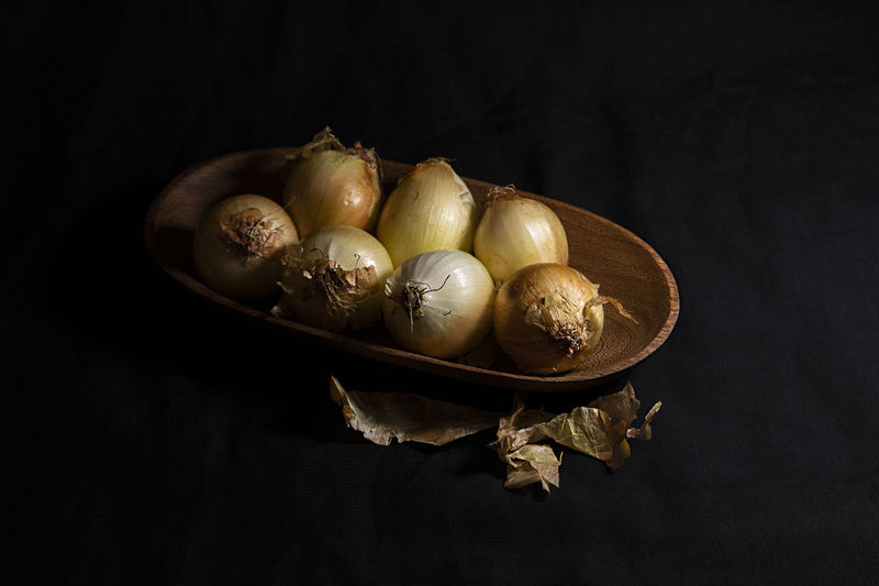 High angle view of eggs on table against black background