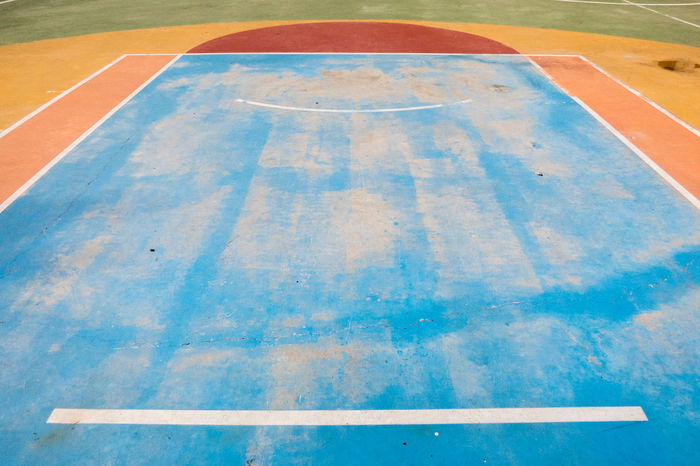 The court areas of a outdoor basketball court with the colorful paint Area Ball Basket Basketball - Sport Blue Competition Competitive Sport Court Excercise Excercise Time Field Floor Fun Game Gym Gymnasium Lines Outdoors Play Playground School Sport Team