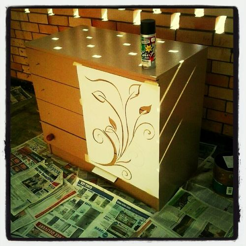 Next stage in Project. Made the stencil myself. Now its ready to be Spray Painted. Excited! :)