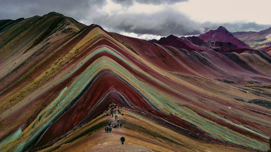 Winikunka: rainbow mountain Cusco Peru Nature Wild Rainbow Rainbow Mountain Cold Temperature Mountain Sky Landscape Mountain Range Cloud - Sky Arid Landscape Physical Geography Rock Formation