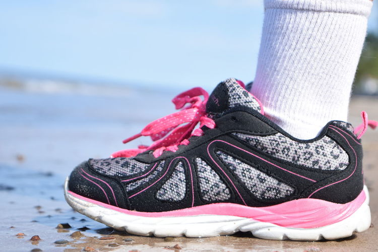 Beach Chilling Close-up Focus On Foreground Kid Lake Ontario Landscape Ocean Red Sea Shoe Sneakers