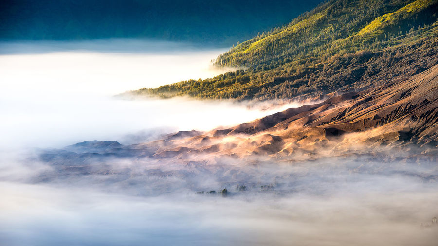 Mount Bromo volcano. Beauty In Nature Cloud - Sky Day Fog Landscape Mountain Nature No People Outdoors Power In Nature Scenics Sea Sky Space Tranquil Scene Tranquility Tree Water