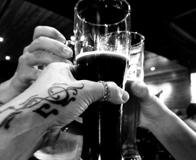 Togetherness Human Hand Drink Human Body Part Refreshment Celebration Alcohol Food And Drink Indoors  Drinking Glass Celebratory Toast Focus On Foreground Drinking Real People People Adults Only Adult Close-up Tattoo Stout Friends Week Of Eyeem Happy Hour